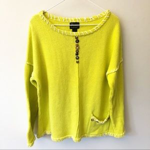 {Anthropologie} Pure Handknit Lime Green Sweater
